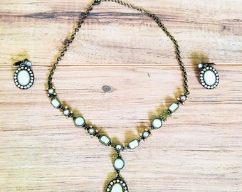 Avon-heart-clip on-necklace-pendant-vintage-costume-jewelry-glass-faceted-crystals-earrings-opal-bronze