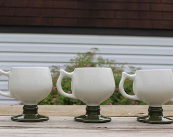 Set of 3 Hall 2274 Pedestal Coffee Mugs, White & Green