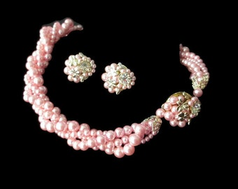 Vintage Japan Frosted Pink Multi Strand Rhinestone  Necklace and Cluster Handwired Earring  Demi Parure