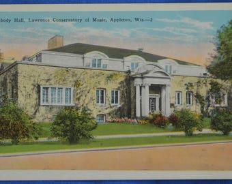 Peabody Hall Lawrence Conservatory of Music Appleton Wisconsin White Border Postcard Unused