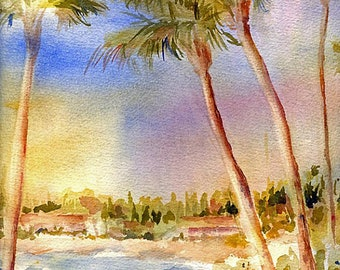 Palm Tree Watercolor Painting Print by ConnieTownsArt, Palm Tree Art, Tropical Art, Matted to 11x14, Palm Tree Painting, Maui Art