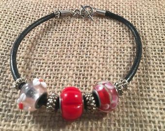 Leather Cord Bead Bracelet