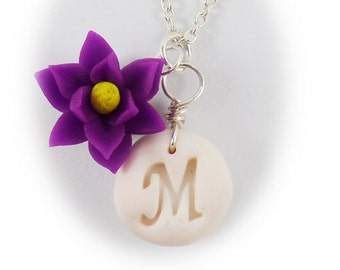 Personalized Magnolia Initial Necklace - Magnolia LetterJewelry Silver Gold or Antique Brass
