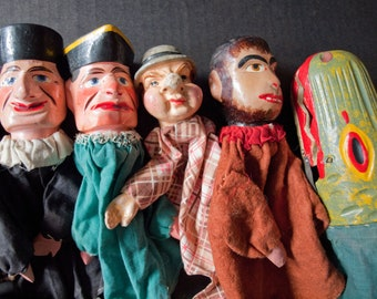 Antique Punch and Judy Children's Puppet Set from 1890's