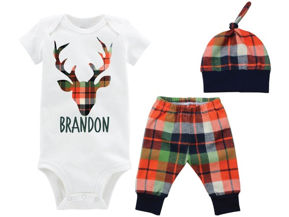 Fall Boy Deer Bodysuit Fall Plaid Baby Outfit Boy Deer Personalized Going Home Outfit Coming Home Outfit Fall Plaid Pants Top Knot Hat