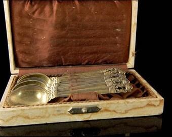 6 Vintage Danish Georg Jensen Gilt Acorn Sterling Demitasse Spoons Set