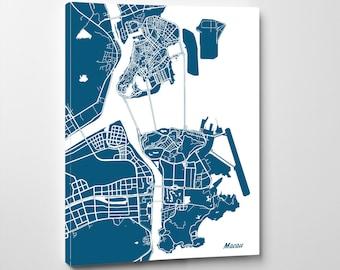 Macau Street Map Print Map of Macau City Street Map China Poster Wall Art 7102P