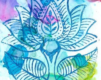 Lotus Watercolor Print, Wood Block Print, Lotus Flower, Lotus Print, Lotus Watercolor, Yupo