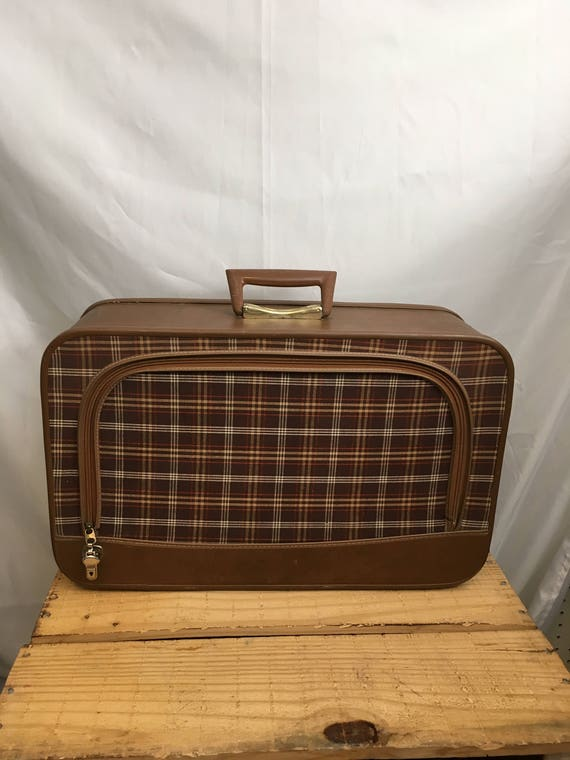 Vintage suitcase, vintage luggage, vintage train case, mid century suitcase, plaid cloth suitcase plastic inside, beautiful for decor