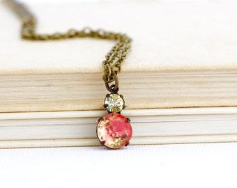 Orange Crystal Pendant - Rhinestone Pendant - Bridal jewelry - Bridesmaid Gift - Vintage Style - Victorian Style Pendant - Gift For Her