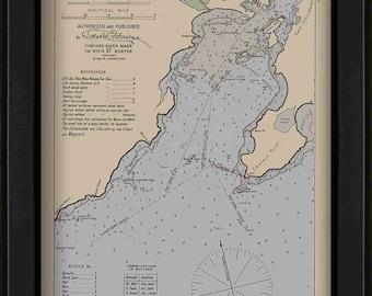 Gloucester Harbor 1909 Colored - Nautical Chart by Geo. Eldridge