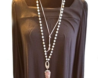Amazonite beaded rosary chain with arrowheads  pendant and leather cording layered necklace, statement necklace