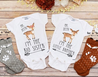 Matching outfits sibling shirts brother sister clothing gift sibling outfits sibling shirts deer shirts brother and sister shirts baby boy coming home outfit personalized baby gift twins shirts negle Images