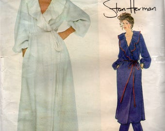 VINTAGE Very Easy Vogue American Designer Pattern 2039 STAN HERMAN Robe & Pants Misses Size 6