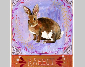 Animal Totem Print - Rabbit