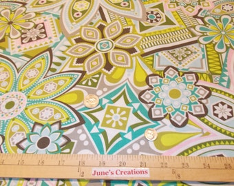 1 Yd Free Spirit Fabric Jenean Morrison Beechwood Park Picnic Yellow Green Pink by the Yard 100% Cotton Quilting Sewing Spring Decoration
