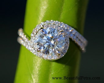 Wedding Set - 14k White gold - Diamond Engagement Ring and matching band - Halo - UNIQUE - Thin Swirl - Pave - Bp0013
