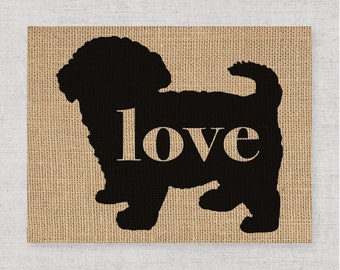 Maltipoo / Maltese / Poodle Mix Breed - Burlap Dog Breed  Home Decor Print - Gift for Dog Lovers - Can Be Personalized with Name (101p)
