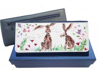 rabbit purse, navy purse, pink purse, leather purse, rabbit gift, rabbit wallet, rabbit leather purse, rabbit family