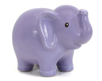 Personalized Lavender Large Elephant Piggy  Bank polka dots  Newborns , Birthday,Girls ,, Flower Girl,Baby Shower Gift Centerpiece