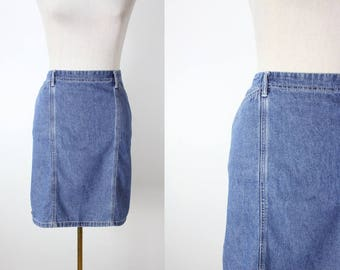 Vintage Denim Skirt High Waist Jean Pencil Skirt 90's Midi Skirt TAPEMEASURE Medium