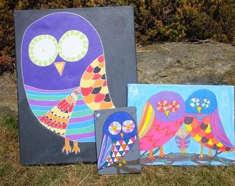 Colourful owl paintings