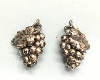Marked designer Napier grape cluster clip on Vintage earrings