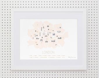 Map of London 'Minimalist' - Peach Blush