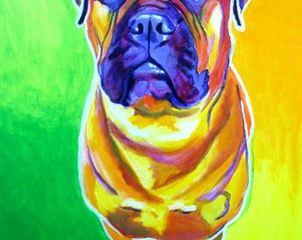 Bullmastiff, Pet Portrait, DawgArt, Dog Art, Pet Portrait Artist, Colorful Pet Portrait, Bullmastiff Art, Art, Art Prints