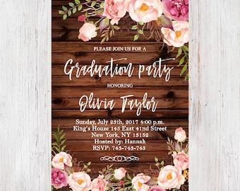 Floral Graduation Party Invitation Template,Rustic Wood Pastel Flower Graduation Invitation,Graduation Invite,Graduation Announcement 13