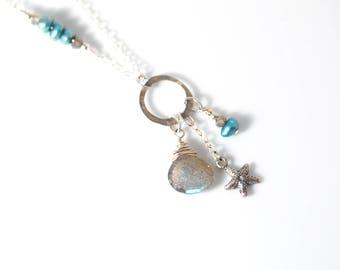 Sterling Silver STARFISH necklace   Labradorite necklace   Silver Star Beach necklace   Silver Starfish jewelry   Starfish Charm necklace