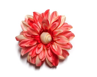 SALE Ivory Spiral Shell Peach Dahlia Pinup Rockabilly Hair Flower Clip