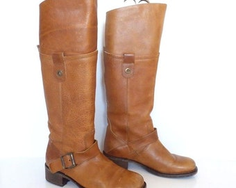 Women's Vintage VIA VAI Riding Pull On Knee High Brown Real Leather Boots Size UK5 EU38 US7