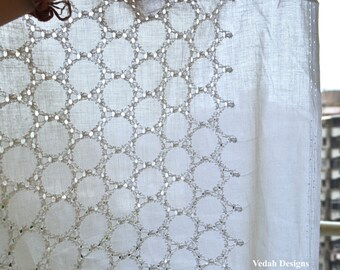 Top quality white eyelet fabric Indian Cotton fabric embroidered fabric by the yard