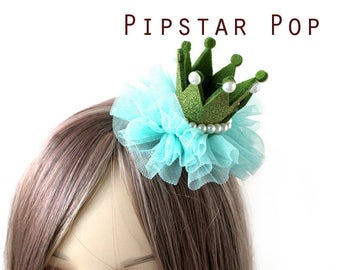 Green and Pearly Princess crown hair clip (5 color option)  Lolita glitter crown barrette,birthday crown,party favor, princess peach cosplay