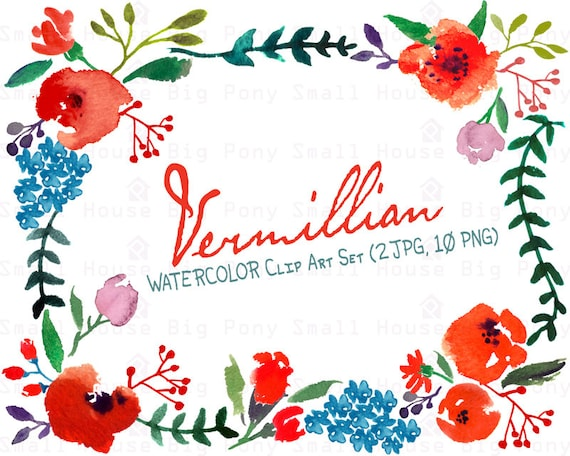 Digital Clipart- Watercolor Flower Clipart, Wedding floral Clip art, Floral Bouquet Clipart, wedding flowers clip art
