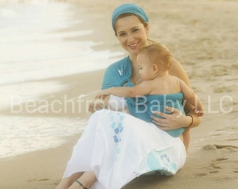 USA made Beachfront Baby Water Ring Sling- SAFE babywearing in the shower, pool, water park and the beach! 9 colors, one size, mesh
