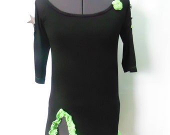 black and green jersey tunic
