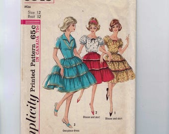 1960s Vintage Sewing Pattern Simplicity 5545 Misses Tiered Peasant Blouse and Full Skirt Square Dance Size 12 Bust 32 60s 1964