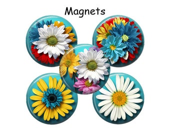 1.25 Inch Refrigerator Magnet Kitchen Fridge Magnets Set of 5 Daisy Strong Magnets Housewarming Gift,  M200