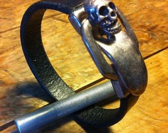 Black skull leather bracelet