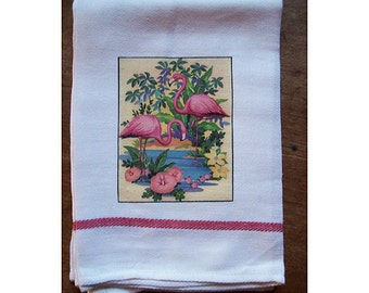 Flamingo dish towel retro 1950s Florida kitsch vintage rockabilly kitchen