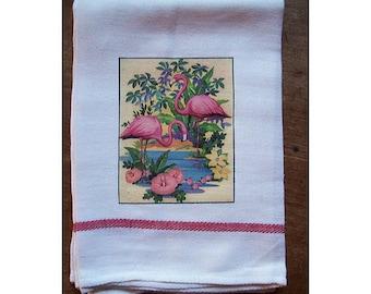 Flamingo dish towel retro 1950s Florida kitsch vintage rockabilly kitchen