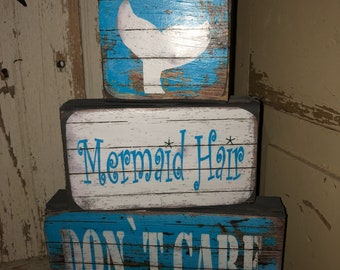 "3 pc ""Mermaid Hair Don't Care"" Wooden Set"