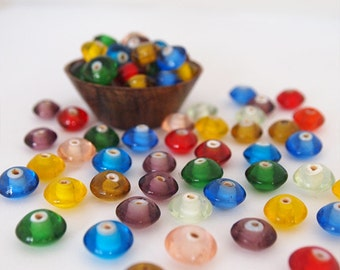 20 Glass Beads Mixed Colours Abacus Donut Shape Size 11 x 7mm