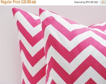 15% Off Sale PINK PILLOW Throw Pillow Covers 18x18 Chevron Pillow Bright Pink Pillow Printed Fabric Both Sides Pink Cushions ZigZag