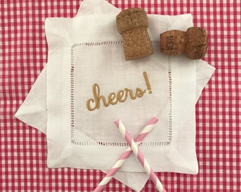 Cheers Embroidered Linen Cocktail Napkins - Gold - Set of 4