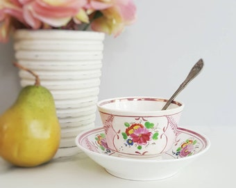 Antique Cup and Saucer - Pink Lustreware - Antique Teacup - Rose Teacup - English Lustreware - Staffordshire - Rose Cup and Saucer