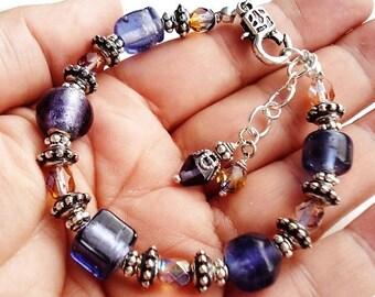 Purple Bracelet Czech Glass Jewelry Silver Bracelet Bead Jewelry Purple Bracelet Bohemian Jewelry Boho Bracelet Gift For Her Hippie Bracelet