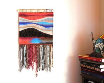 "Hand Woven Tapestry...""Sunset At The lake""...Wall hanging Tapestry..Woven Abstract..Bohemian tribal Art..Fiber Art..Home Decoration"